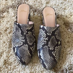 NEW JCREW Faux Snake mules